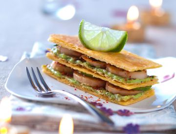 Millefeuille de noix de Saint-Jacques à la moussed'avocat