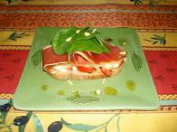 Brushetta jambon comté pignon